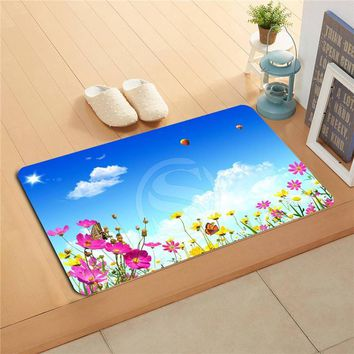 Autumn Fall welcome door mat doormat W620#13 Custom butterfly and flowers Anime Watercolor Painting   Home Decor  Floor Mat Bath Mats foot pad F-#12 AT_76_7
