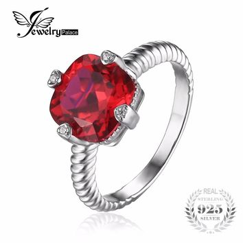 JewelryPalace 4.76ct Square Created Ruby Satement Ring 925 Sterling Silver Wedding Rings for Women Fashion Brand Luxury Jewelry