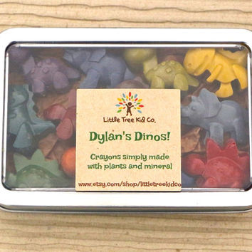 Dinosaur Crayons! All natural crayons with personalized label. Gift ready in cute tin for Christmas, birthday, party favors & more!