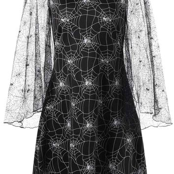 Chicloth Spider Web Print Dress Halloween Lace Sleeve