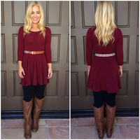 Rodeo Queen Dress With Belt - BURGUNDY