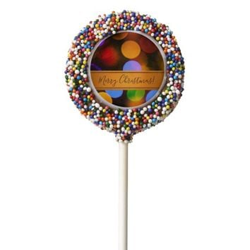 Multicolored Christmas lights. Add text or name. Chocolate Dipped Oreo Pop