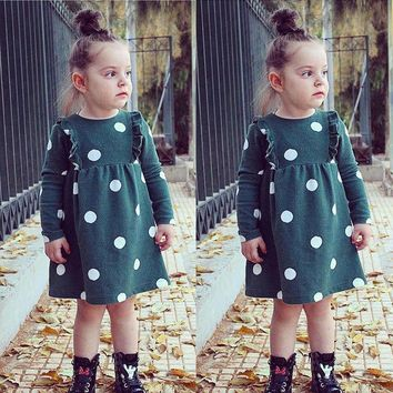 Toddler Baby Girl Dress Long Sleeve Polka Dot Party Pageant Tutu Dress Clothes
