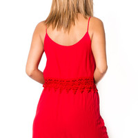 CROCHET HEM LAYER SLEEVELESS DRESS