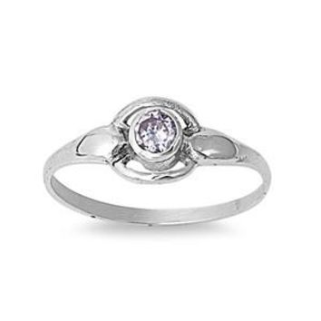 Sterling Silver Solitaire Round CZ Aquamarine 8MM CZ Petite Rings