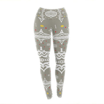 "Miranda Mol ""Deco Wreath Silver"" Gray Yoga Leggings"