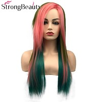 Multi Color Synthetic Straight Wig