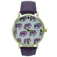 Geneva Elephant Print Leather Watch - Purple