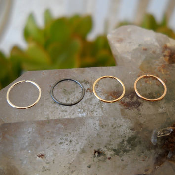 Nose Ring Hoops - Tragus - Helix - Cartilage - Set Of 4 Hoops Sterling Silver Yellow & Rose Gold  Filled 22 Gauge 7mm Inner Diameter