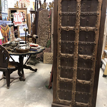 Beautiful Antique Indian Armoire Brown Hand Carved Wardrobe Cabinet Conscious Interiors Design