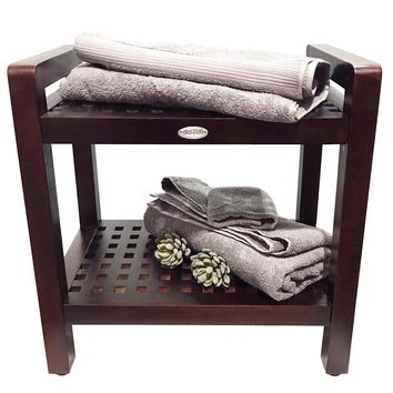 Ala Teak Stool Bench With Shelf and LiftAide Arms Mobility Safety Seating Transfer Products Shower Bath