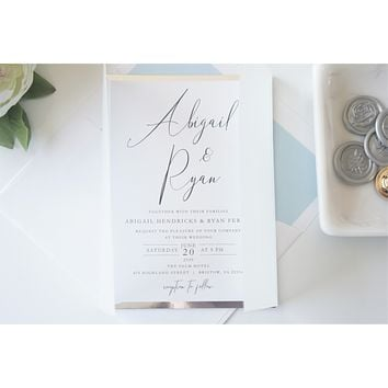 Blue and Silver Vellum and Wax Seal Wedding Invitation - SAMPLE SET