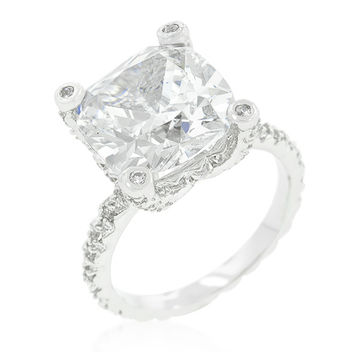 Lucine Brillant Cushion Cut Engagement Statement Ring | 8.2 Carat | Cubic Zirconia