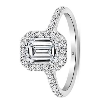 .2 Carat GIA Certified 14K White Gold Halo Emerald Cut Diamond Engagement Ring (1.25 Ct J-K Color VS1-VS2 Clarity Center)