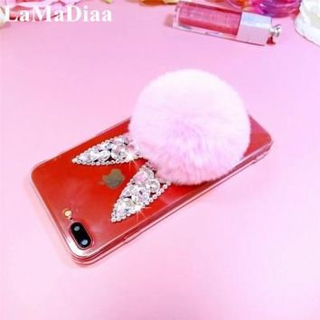 LaMaDiaa Luxury Bling Diamond Rhinestone Crystal Rabbit Fur Ball Soft TPU Phone Back Cover Case For iPhone X 10 6 6S 6 7 8 Plus