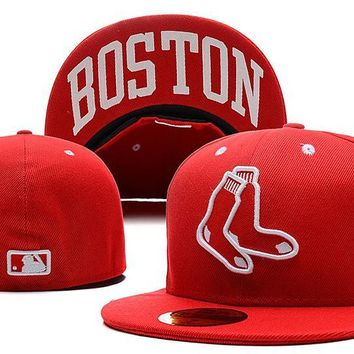 hcxx Boston Red Sox New Era MLB Authentic Collection 59FIFTY Cap Red-White