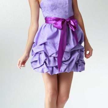 CLEARANCE LIMITED STOCK - Short Cute Strapless Lavender Cocktail Prom Dress Ribbon Bow Bubble Hem Ruched