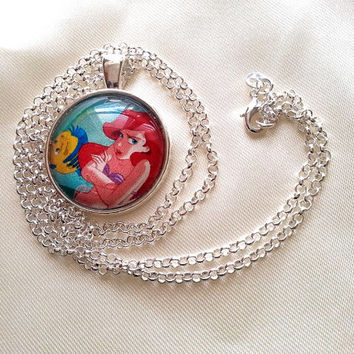 ARIEL The Little Mermaid - Pendant - Silver Long Necklace Large pendant