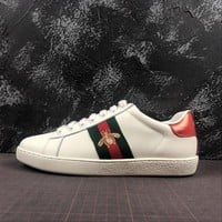 Gucci Ace Embroidered Bee Sneaker White Leather With Green And Red Web - Best Online Sale