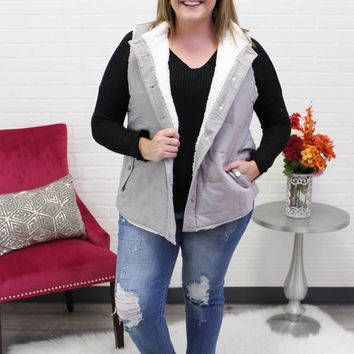 Noelle Grey Plus Fur Vest