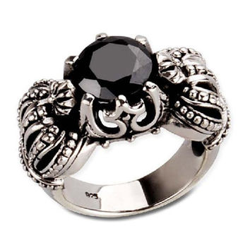 Black Onyx Gemstone Inlaid Double Crown Ring for Men's Fashion Apparel-Size 11