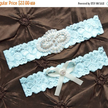 ON SALE Wedding Garter, Bridal Garter Set, Blue Lace Garter, Keepsake Garter, Toss Garter, Something Blue Garter,  Crystal Embellishment Blu