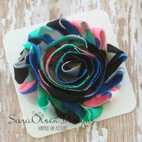 Flower Hair Clip, Blue Black Hot Pink Mint Green, Frayed Chiffon Hairclip, Children's Hair Accessories, Toddler Hair Clip, Girls Hairbow