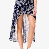 FOREVER 21 Paisley High-Low Skirt Navy/Cream