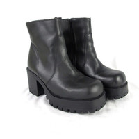 90s Black Platform Chunky Heel Ankle Boots Black Leather Ankle Boots Goth Grunge Boots Treaded Soles Club Kid Monster Aldo Boots (5.5)