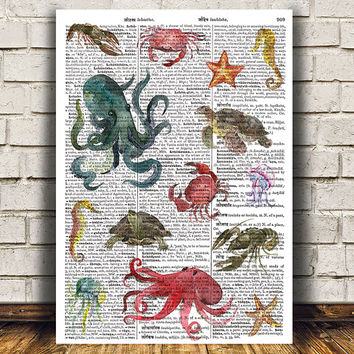 Sealife poster Marine print Dictionary print Nautical decor RTA1586
