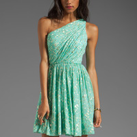 Shoshanna Rayna Dress in Aqua/Gold from REVOLVEclothing.com