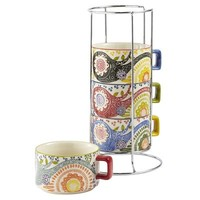 Paisley Mugs with Stand - Set of 4