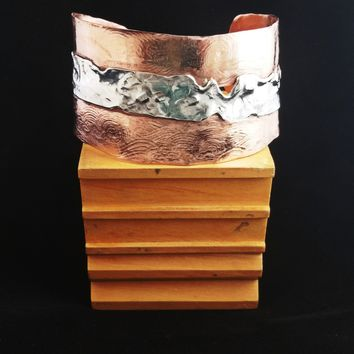 Artisan OOAK Wide Cuff Bracelet - .925 Sterling Silver & Copper - Mens or Womens Cuff