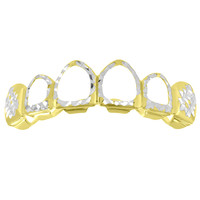 Diamond Cut Designer Cut Out Top Grillz Yellow Gold Finish