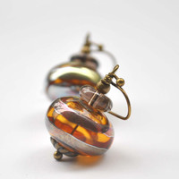 Amber Striped Lampwork Earrings, Artisan Glass Bead Earrings, Hollow Light Weight Earrings