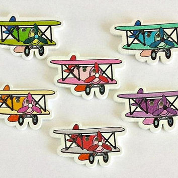 6 Wooden Airplane Buttons - Aircraft Buttons - Airplane - Aircraft - Buttons