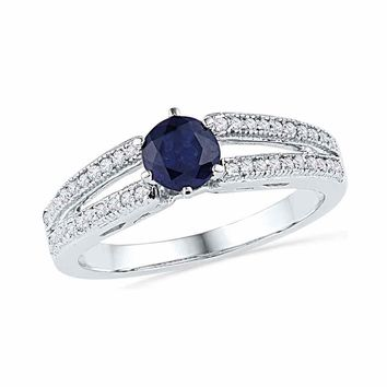 10kt White Gold Womens Round Lab-Created Blue Sapphire Solitaire Split-shank Ring 1/5 Cttw