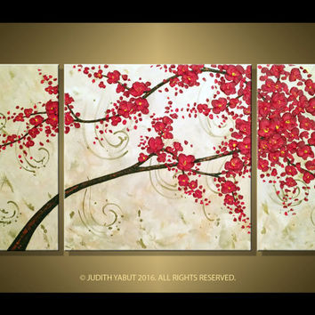 "XL Triptych Painting ""Rythm of Love"" Burgundy Red Cherry Blossom Abstract Original Modern palette knife 48"" Acrylic painting"