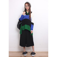 Color Blocking High-Low Knit Jumper