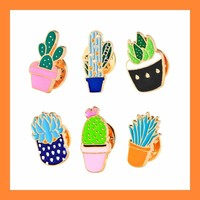 Set of 6 Enamel Succulent Brooch Pins