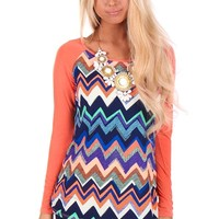 Coral Sleeve and Multi Color Chevron Print Top