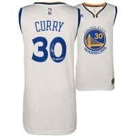 "Autographed Golden State Warriors Stephen Curry Fanatics Authentic 2017 NBA Finals Champions White  Swingman Jersey with ""17 NBA Champs"" Inscription"