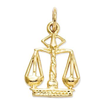 14k Yellow Gold Small Scales of Justice Charm