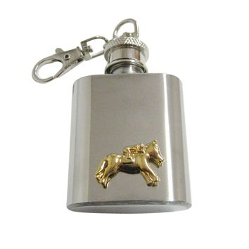 Gold Toned Horse Racing Jockey 1 Oz. Stainless Steel Key Chain Flask