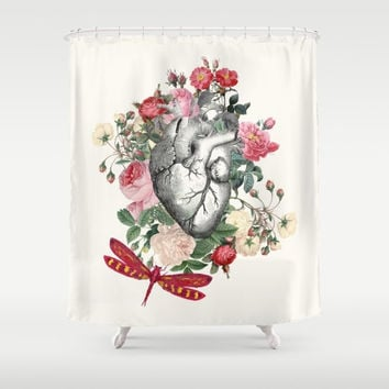 "Floral Heart Shower Curtain ""Dragon Heart"" Illustration - vintage roses, floral Heart,dragon fly love, anatomical heart, vintage"