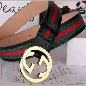 DCCK8X2 NWT Gucci Men's White,Black Red, Green Leather, Web Strip Belt Interlocking Logo