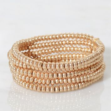 Stacked Beaded Bracelet Gold