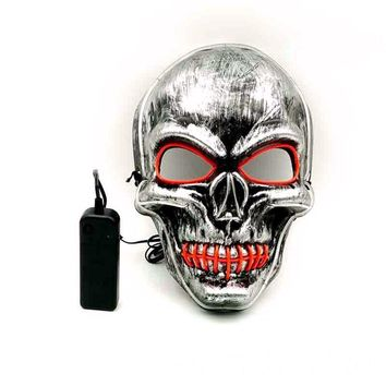 Halloween Masks Horror Dancing Party Halloween Luminous LED Mask Sewed Mouth Skeleton Head Shaped Halloween Masks Adult