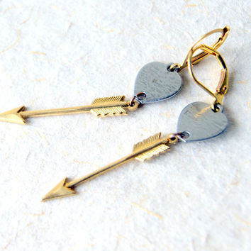 Arrow and Heart Earrings - brass arrows - vintage steel hearts - heart jewelry - Arrow Jewelry - Sagittarius