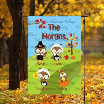 Thanksgiving Lawn Flags with kids names